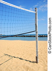 Volleyball net - Beach volleyball net in perspective on a...