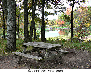 campsite - picnic table at riverside campsite