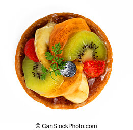 Fruits tart - Upper view of a small tasty fruits tart over...