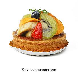 Fruits tart - Tasty fruits tart over white background