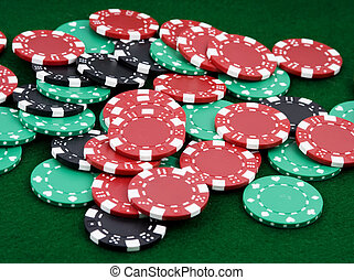 winning chips - pile of betting chips winner payout on green...