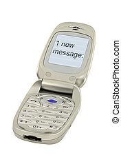mobile phone with ONE NEW MESSAGE text 2