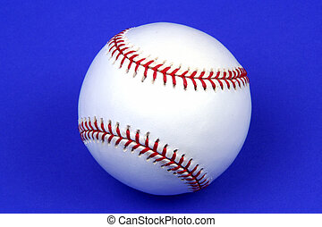 Baseball - Closeup of a baseball on a blue background