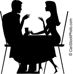 Couple - Silhoutte of a couple at the cafe