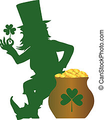 St\\\'Patrick Day - Silhouette of a leprenauch