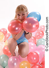 Girl ballons - Young blonde girl with ballons of defferent...
