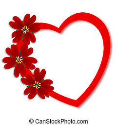 Valentines Day greeting card with red flowers on heart