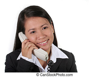 On the Phone - Asian Business Woman On the Phone