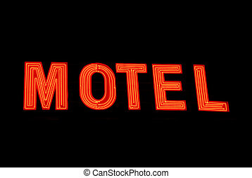 Neon Motel Sign - Red Neon Motel Sign on top of a cheap...