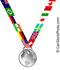 Silver Medal - Silver medal of globe and country flags