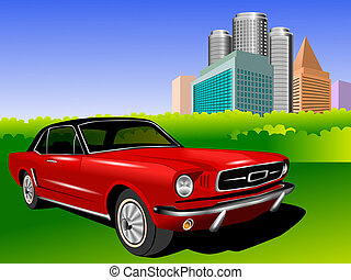 Red Mustang - An illustration of Old mustang and motor city
