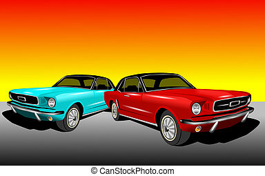 Red and Cyan Mustang - An illustration of 70s mustangs in...