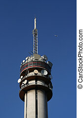 Telecom Tower - Telecom tower with airplane in the sky