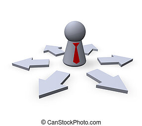 outsourcing - play figure businessman with red tie and...