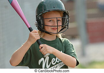 On Deck Smile - Young smiling softball player on deck...