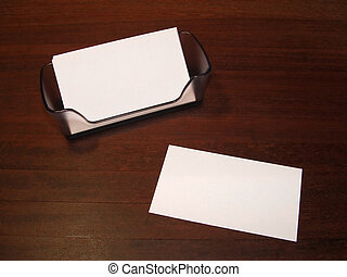 Card 3 - Blank business card on desk with holder