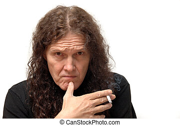 Pensive looking Businessman - Long haired serious looking...
