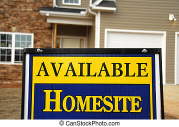 Available Homesite Realty Sign in front of new construction