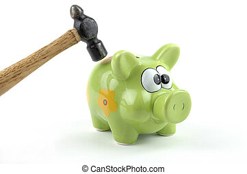 Breaking the Bank - Hammer about to smash a piggybank