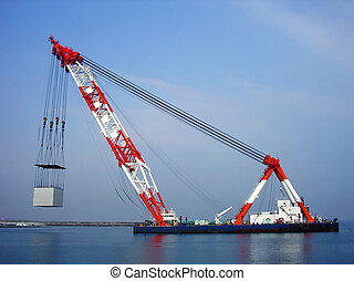 marine lift-crane - industrial operation of construction...