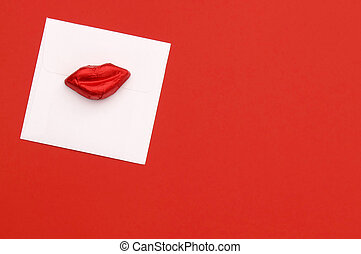 Valentine candy lips and card