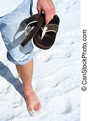 Flip Flops II - Flip flops in man\\\'s hand at beach