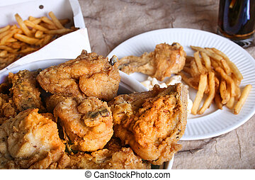 chicken dinner - fried southern take out food