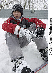 Snowboarding - Teen with snowboard