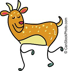 deer - a cute deer isolated on white drawn in toddler art...