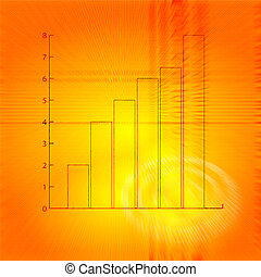 bar chart - A flying bar chart on a abstract orange...