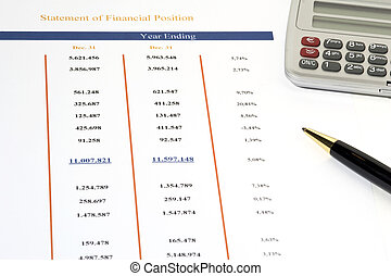 Sales Report - Statement of Financial Position with ball pen...