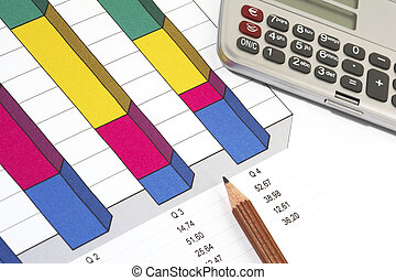Sales Report - Colorful Sales Report and Chart with pen and...