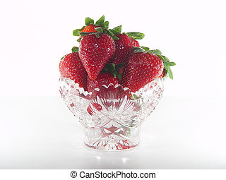 Crystal Bowl of Strawberries - Crystal Cut Glass Bowl...