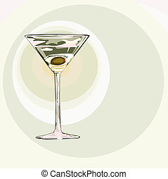 martini with hearts - martini glass with olive and soft...