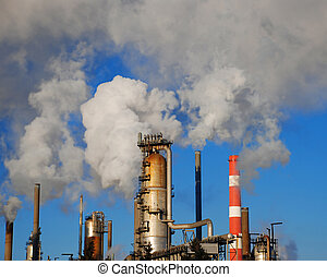 industry pipes - industrial site with smoking pipes, global...