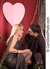 Valentine couple - Shot of lovely couple at studio retro...