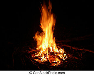 Fire - portrait of campfire outdoors in late cold night