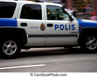Police Car - portrait of swedish police car in action