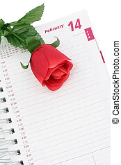 Valentines Day - artificial red rose and calendar,...