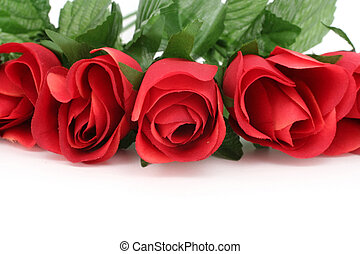 red rose - artificial red rose with white background