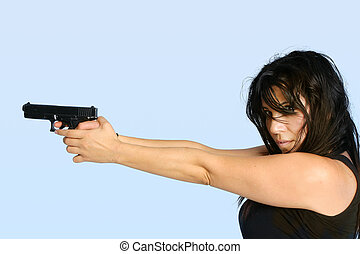 Female with a gun - Female gangster criminal holding a gun...