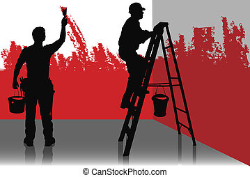 TWO PAINTERS - Two painter painting a room in red color,...