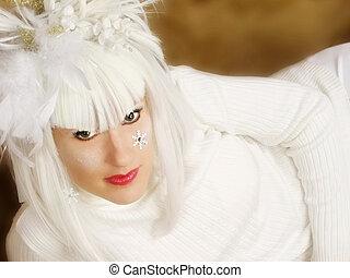 Beautiful Woman in White - Beautiful woman with white winter...