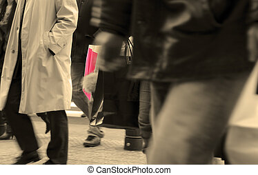 Urban shopping abstract - Selective focus on two shopping...