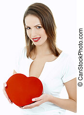 Lovely - Portrait of Beautiful woman with red heart shaped...