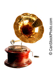 Isolated antique gramophone - An antique gramophone, with a...