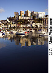 Torquay Harbour - The harbour with boats in Torquay in...