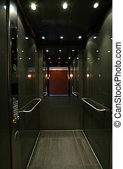 open elevator - open stainless elevetaor with mirror, i had...