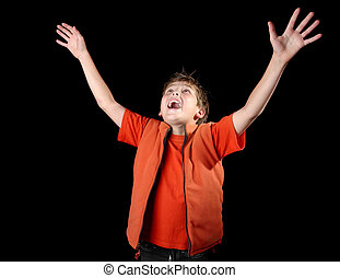 Enlightened Praise - A child raises his hands in praise