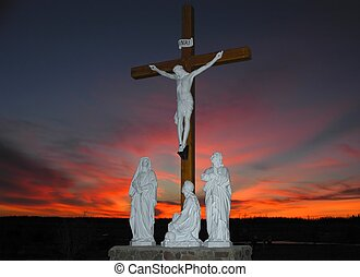 Jesus on the cross - Crucifixion scene in front of colorfull...